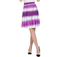 Metallic Pink Glitter Stripes A-Line Skirt