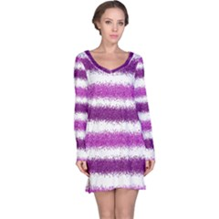 Metallic Pink Glitter Stripes Long Sleeve Nightdress