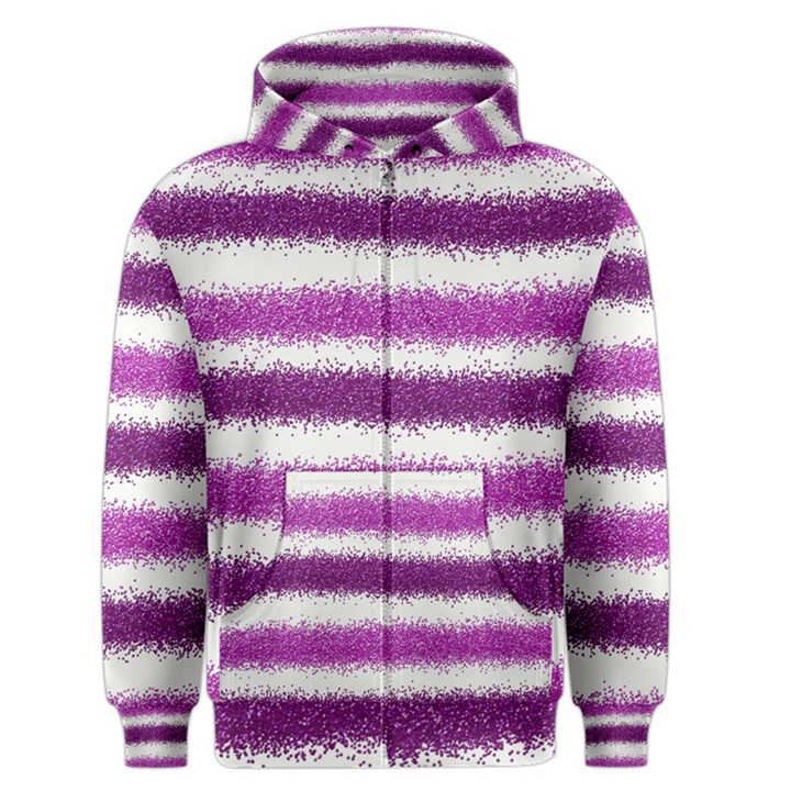 Metallic Pink Glitter Stripes Men s Zipper Hoodie