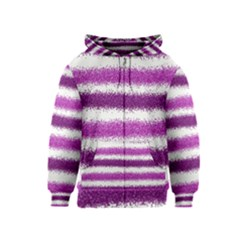 Metallic Pink Glitter Stripes Kids  Zipper Hoodie