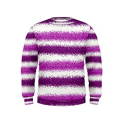 Metallic Pink Glitter Stripes Kids  Sweatshirt
