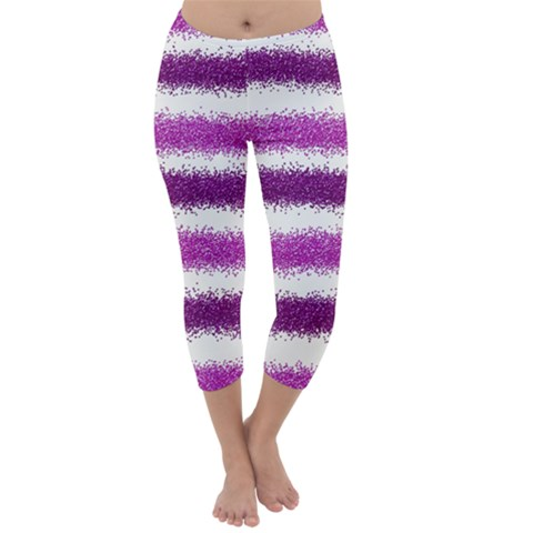 Metallic Pink Glitter Stripes Capri Winter Leggings
