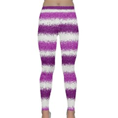 Metallic Pink Glitter Stripes Yoga Leggings