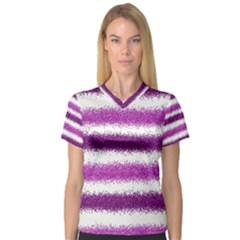 Metallic Pink Glitter Stripes Women s V-Neck Sport Mesh Tee