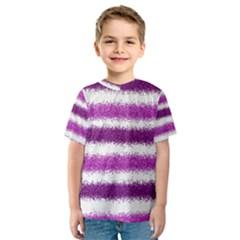 Metallic Pink Glitter Stripes Kids  Sport Mesh Tee