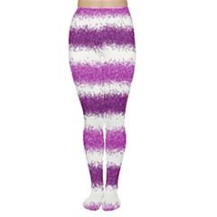 Metallic Pink Glitter Stripes Women s Tights