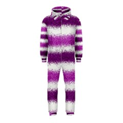 Metallic Pink Glitter Stripes Hooded Jumpsuit (Kids)