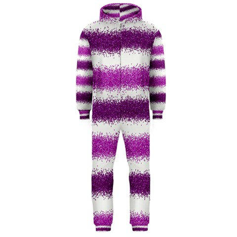 Metallic Pink Glitter Stripes Hooded Jumpsuit (Men)