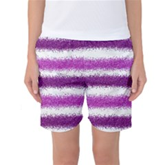 Metallic Pink Glitter Stripes Women s Basketball Shorts