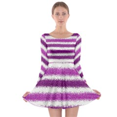 Metallic Pink Glitter Stripes Long Sleeve Skater Dress