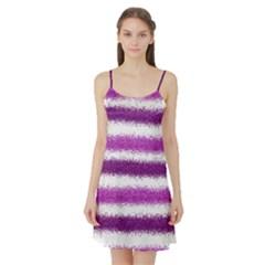 Metallic Pink Glitter Stripes Satin Night Slip