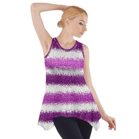 Metallic Pink Glitter Stripes Side Drop Tank Tunic