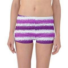 Metallic Pink Glitter Stripes Reversible Boyleg Bikini Bottoms