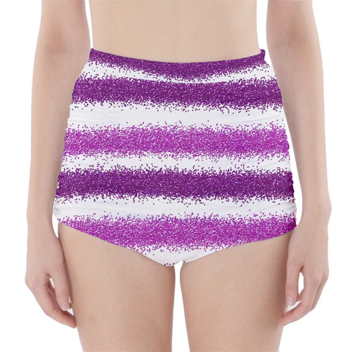 Metallic Pink Glitter Stripes High-Waisted Bikini Bottoms