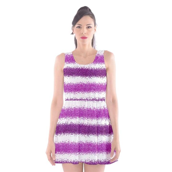 Metallic Pink Glitter Stripes Scoop Neck Skater Dress