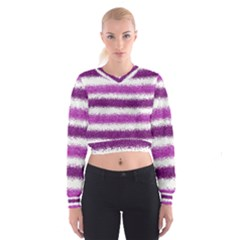 Metallic Pink Glitter Stripes Women s Cropped Sweatshirt