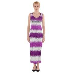 Metallic Pink Glitter Stripes Fitted Maxi Dress