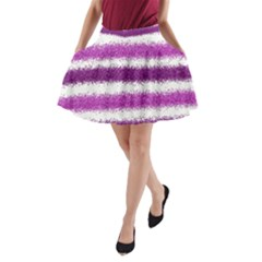 Metallic Pink Glitter Stripes A-Line Pocket Skirt