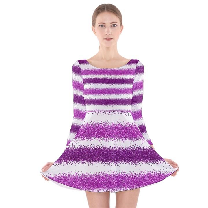 Metallic Pink Glitter Stripes Long Sleeve Velvet Skater Dress