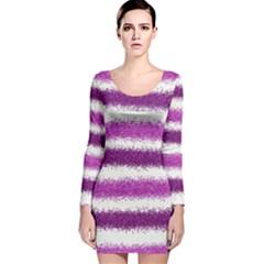Metallic Pink Glitter Stripes Long Sleeve Velvet Bodycon Dress