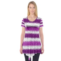 Metallic Pink Glitter Stripes Short Sleeve Tunic