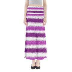 Metallic Pink Glitter Stripes Maxi Skirts