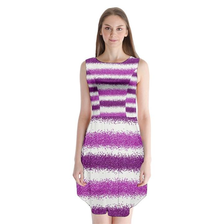 Metallic Pink Glitter Stripes Sleeveless Chiffon Dress