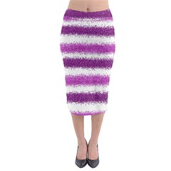 Metallic Pink Glitter Stripes Midi Pencil Skirt