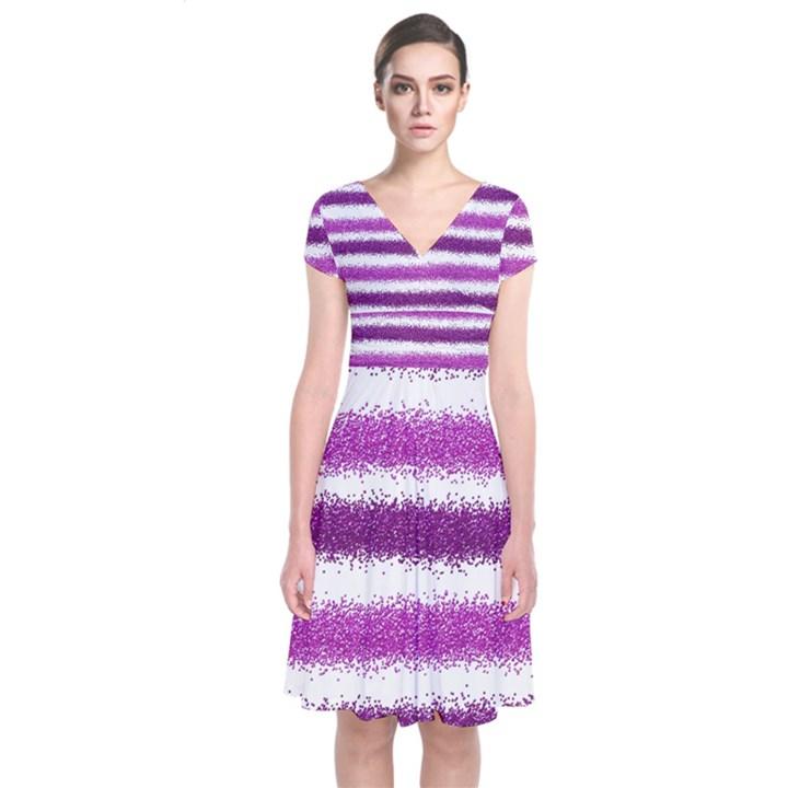 Metallic Pink Glitter Stripes Short Sleeve Front Wrap Dress