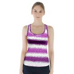 Metallic Pink Glitter Stripes Racer Back Sports Top