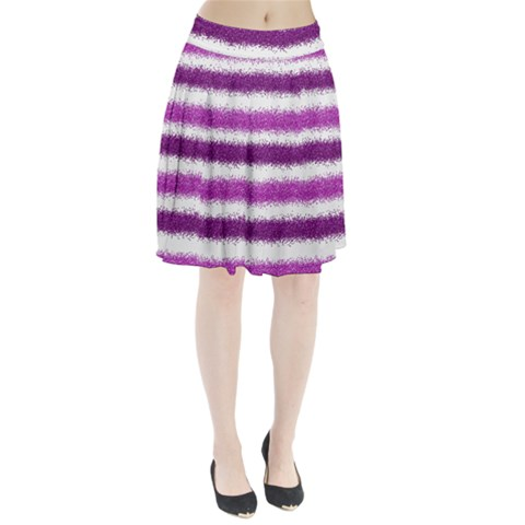 Metallic Pink Glitter Stripes Pleated Skirt