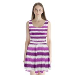 Metallic Pink Glitter Stripes Split Back Mini Dress
