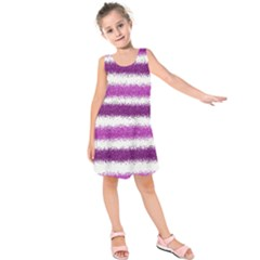 Metallic Pink Glitter Stripes Kids  Sleeveless Dress