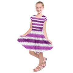 Metallic Pink Glitter Stripes Kids  Short Sleeve Dress