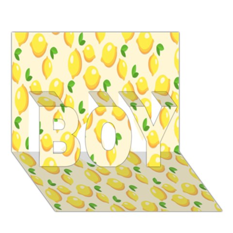 Pattern Template Lemons Yellow BOY 3D Greeting Card (7x5)