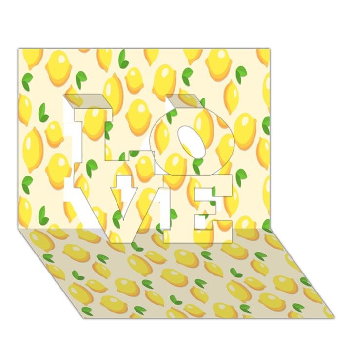 Pattern Template Lemons Yellow LOVE 3D Greeting Card (7x5)