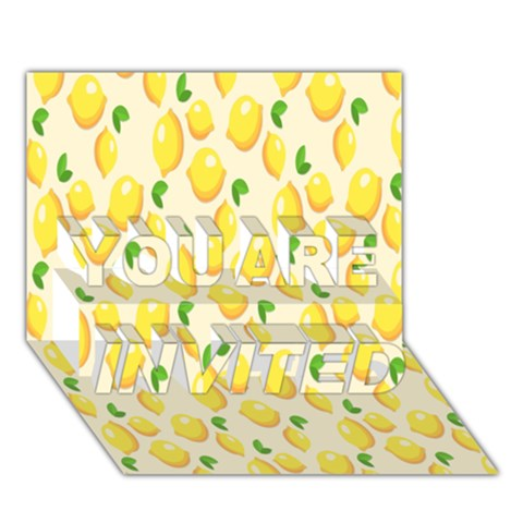 Pattern Template Lemons Yellow YOU ARE INVITED 3D Greeting Card (7x5)