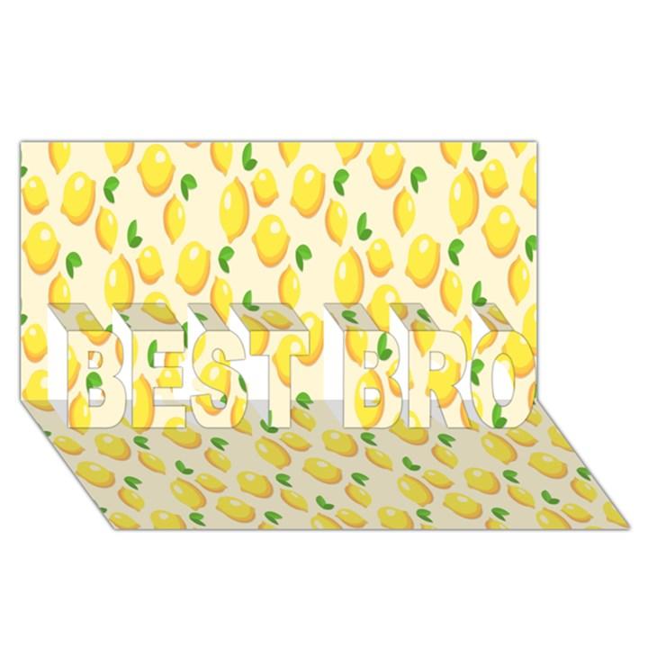 Pattern Template Lemons Yellow BEST BRO 3D Greeting Card (8x4)