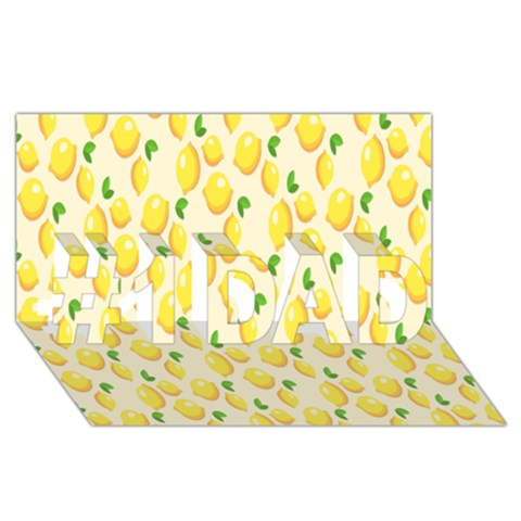 Pattern Template Lemons Yellow #1 DAD 3D Greeting Card (8x4)