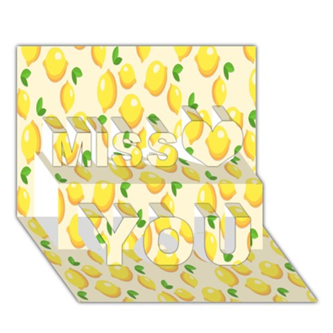 Pattern Template Lemons Yellow Miss You 3D Greeting Card (7x5)
