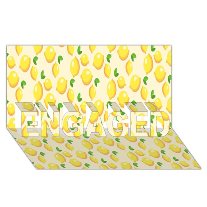 Pattern Template Lemons Yellow ENGAGED 3D Greeting Card (8x4)