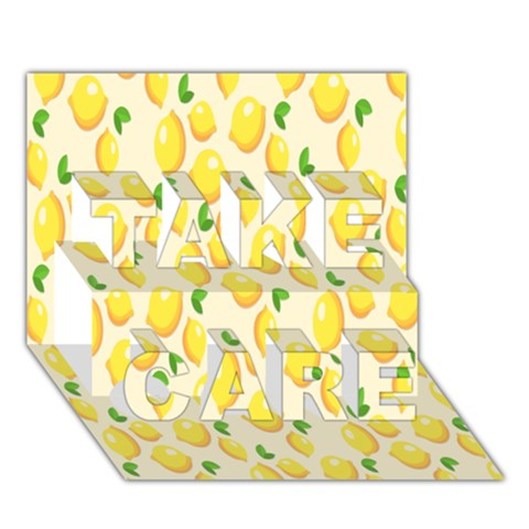 Pattern Template Lemons Yellow TAKE CARE 3D Greeting Card (7x5)