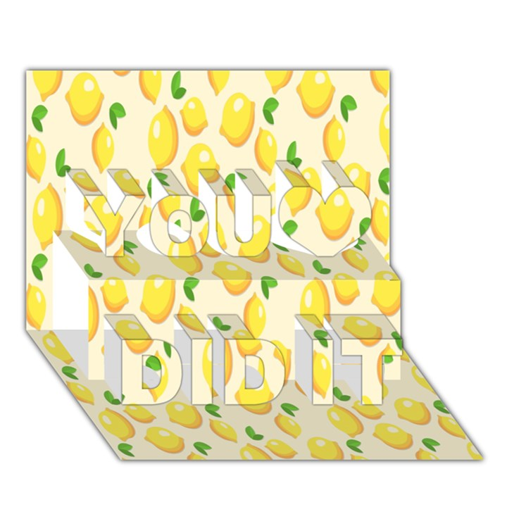 Pattern Template Lemons Yellow You Did It 3D Greeting Card (7x5)