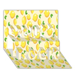 Pattern Template Lemons Yellow You Rock 3D Greeting Card (7x5)