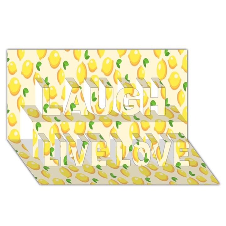 Pattern Template Lemons Yellow Laugh Live Love 3D Greeting Card (8x4)