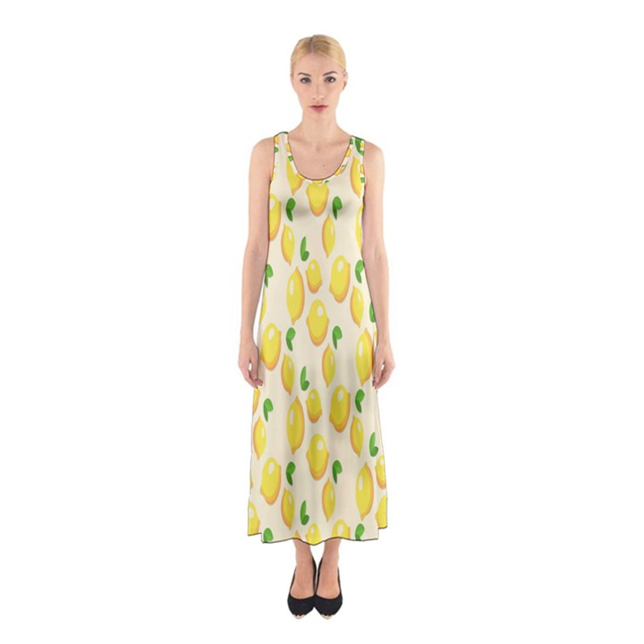 Pattern Template Lemons Yellow Sleeveless Maxi Dress