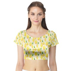 Pattern Template Lemons Yellow Short Sleeve Crop Top (Tight Fit)