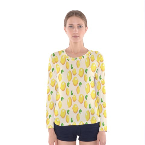 Pattern Template Lemons Yellow Women s Long Sleeve Tee