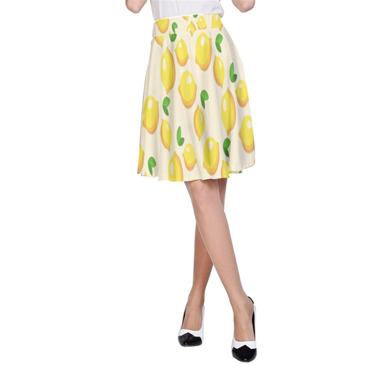 Pattern Template Lemons Yellow A-Line Skirt