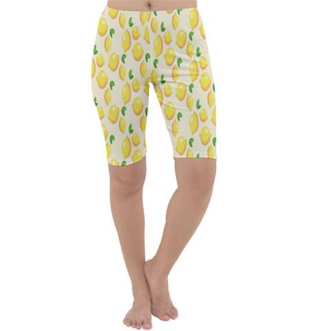 Pattern Template Lemons Yellow Cropped Leggings
